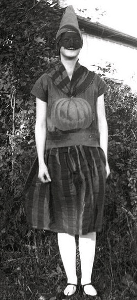 Vintage Halloween costume (1928.Public Domain.York U. Archives. commons.wikimedia.org)
