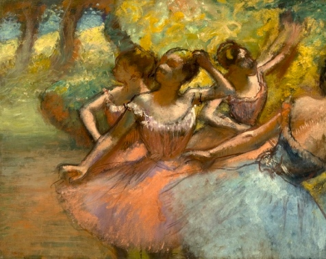 4 Ballerinas painting by Degas (1885-1890. Public domain image in US as copyright expired:commons.wikimedia.org)