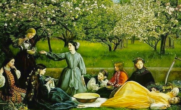 Apple Blossoms by Millais ( 1856-1859), (Public domain: artist death 100 years+ commons.wikimedia.org)