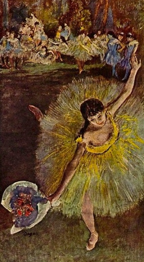 Ballerina with flowers. Degas, 1877 (Public domain. Yorck Project:commons.wikimedia.org)