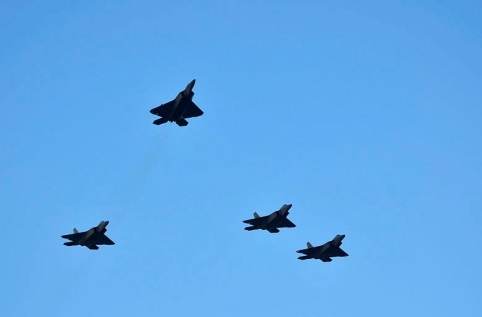 F-22 Raptors. Pearl Harbor Flyover. Missing man formation. 2011. (Public domain image. US Navy. Common.wikimedia.org)