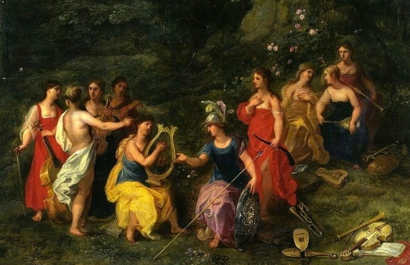 Minerva among the Muses by Hendrick van Balen the Elder,1620's.(US public domain)