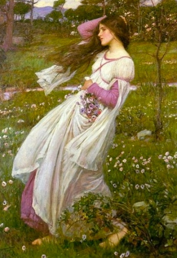 Windflowers by Waterhouse, 1902. (US public domain, expired copyright. commons.wikimedia.org)