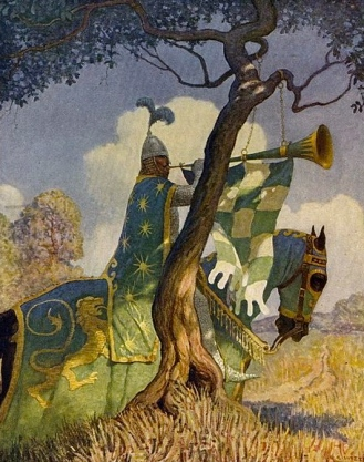 Green Knight. 1922 illustration by Wyeth from Boy's King Arthur. (US public domain with expired copyright/commons.wikimedia.org)