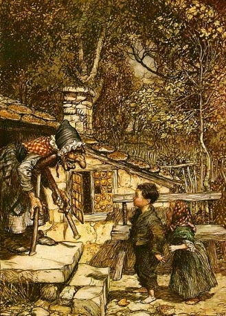 Hansel and Gretel. Grimm Fairy tales, Rackham illustration, 1909. (US Public domain, expired copyright, commons.wikimedia.org)