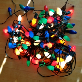 Pile of old fashion big bulbed Christmas lights. All rights reserved. NO permissions granted. Copyrighted