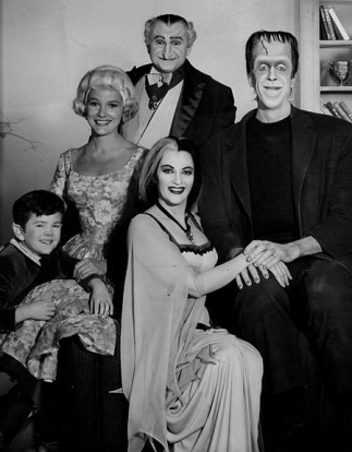 "Publicity photo of ""The Munsters"" Aug.28,1964. CBS (US public domain. No copyright markings(1923-1977), for media/commons.wikimedia.org)"