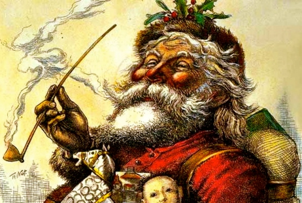 Santa by Thomas Nash for Harper's Weekly, 1881. (US Public domain, life of artist + 100 yrs/ commons.wikimedia.org)