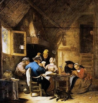 Sorgh painting of peasants card game. 1610-1670. (Public domain image.expired copyright. artist+100 yrs/commons.wikimedia.org)