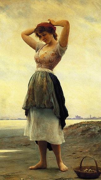 Beach,1908.(de Blaas,1843-1932,US pubic domain: artist life+70ys/ commons.wikimedia.org)