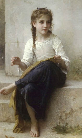 """It's not """"booger""""? It's for RC, right? (Bouguereau 1825-1905.Reprod. PD art/ artist's life+100/ Commons.wikimedia.org)"""