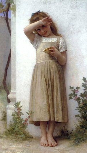 Spoiled my day. (1895 Bouguereau 1825-1905.US public domain: reprod of PD art/artist life+100/Commons.wikimedai.org)