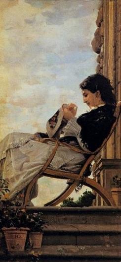 Woman sewing. 1882 (C. Banti 1824-1904.Pitti Palace:US public domain: reprod of PD art/ artist life+100/ Commons.wikimdeia.org)