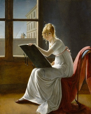 Young woman drawing. You can't see the ankle bracelet can you?(Marie-Denise Villers 1774-1821. Metropolitan Museum/US public domain: reprod of Pd 2D art/Artist life+100/ Commons.wikimedia.org)