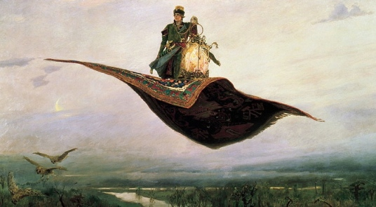 1880 Magic carpet ride (Viktor Vasnetsov,1848-1926/Nizhny Novgorod State Art Museum/belygorod.ru/ US public domain: reprod of PD art/publication date/artist life+80/ Commons.wikimedia.org)