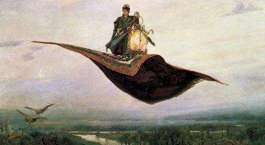 1880 Magic carpet ride (Viktor Vasnetsov,1848-1926/Nizhny Novgorod State Art Museum/belygorod.ru/ US public domain: reprod of PD art/publication date/artist life+80/ Commons.wikimedia.org)