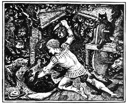 Life on the road is full of dangers (1889 Blue Fairy Book. Maragna,Lang, illustrated by HJ Ford/ US public domain: publication date/ artist life+100/ Commons.wikimedia.org)