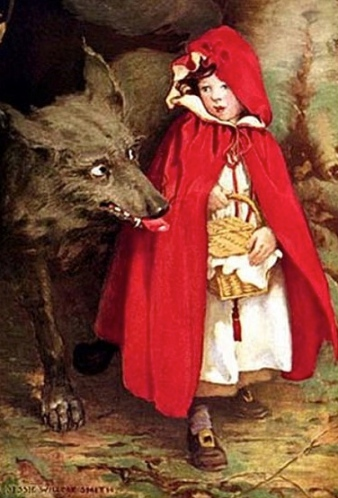 What a big teeth you have... (1911 Little Red Riding Hood.Jessie W. Smith.1863-1935.US public domain/expired copyright/artist life+70/Commons.wikimedia,org)