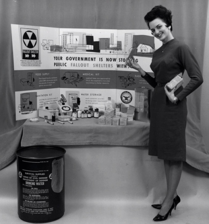 Civil defense in the 1950's. Shelter signs were big, obvious, and everywhere - with capacity numbers posted. (FEMA/ National Archives ARC 542103/ US public domain: fed employee/ Commons.wikimedia.org)