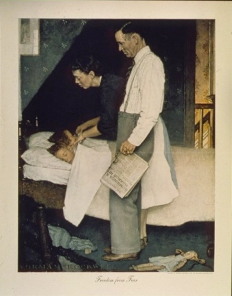 Bedtime 1941-1945  (N. Rockwell 1894-1978/ Office of Emerg. Management:National Archives.513538/ US public domain:By fed employee/ Commons.wikimedia.org)