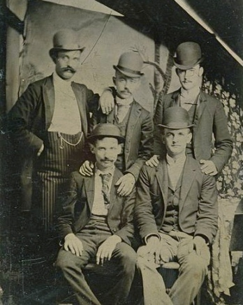 Hanging out with a bad crowd. (Butch Cassidy, the Sundane Kid and their Wild Bunch 1892.Gilman Collection/ US public domain: expired copyright/ photo reprod of PD art/ artist life+70/ Commons.wikimedia.org)