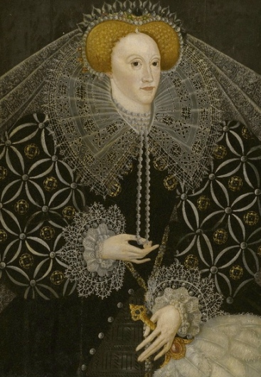 Married to her realm: Elizabeth I of England. 1595 (English School/ Ampleforth Abbey/ US public domain: reprod of PD art/ artist life+100/ Commons.wikimedia.org)