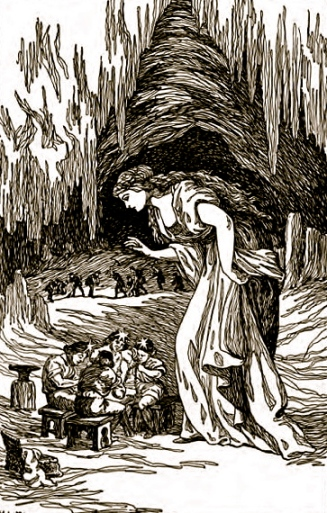 Freyja in the Cave of Dwarfs.(H.L.M. Asgard Stories,1901 Mary H. Foster/ US public domain:date of publication/expired copyright/Commons.wikimedia.org)