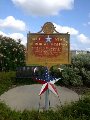 Blue Star Memorial Highway marker across from NASA. Clear Lake area, Texas.