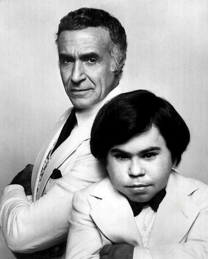 Mr Roarke(Monalban) and Tattoo (Herve Villechaize) Return to Fantasy Island, 1977 (ABC TV/ US public domain.no copyright notice/publication date with no copyright notice/ Commons.wikimedia.org)