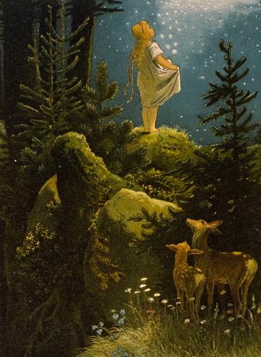 Gathering Star Money. (Bro. Grimm,1882.Mohn illustration,1842-1911.US public domain: artist life+100/ Commons.wikimedia.org)