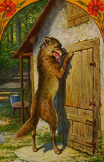 Wolf at the door. 1934. (Oskar Herrfurth 1862-1934.US public domain.photo reprod of PD art/ artist life+70/ Commons.wikimedia.org)