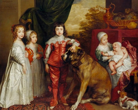 Children and dogs - so much in common. Both can be dressed up. Both can learn to sit. (Royal Children of Charles I 1637. van Dyck 1599-1641. English Royal Collection/US public domain: photo reprod of PD art/artist life+100/ Commos.wikimedi.org)