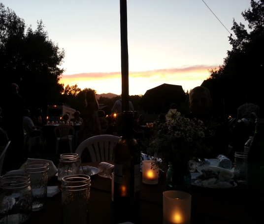 Sunset at Napa Vineyard of Patriots Winery with the Grace Family