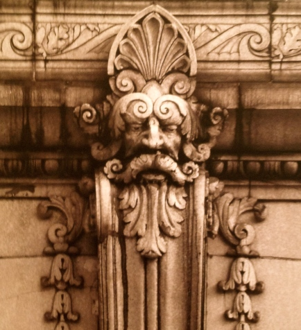Stone architectural detail of face