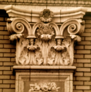 architectural detail. top of stone pillar