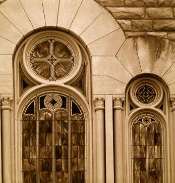 Architectural stone detail around window