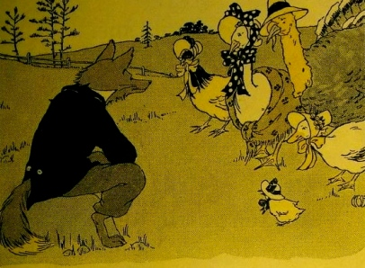1916.Chicken Little. Mabel Hill.New Barnes Reader/US PD:pub.date/Commons.wikimedia.org)