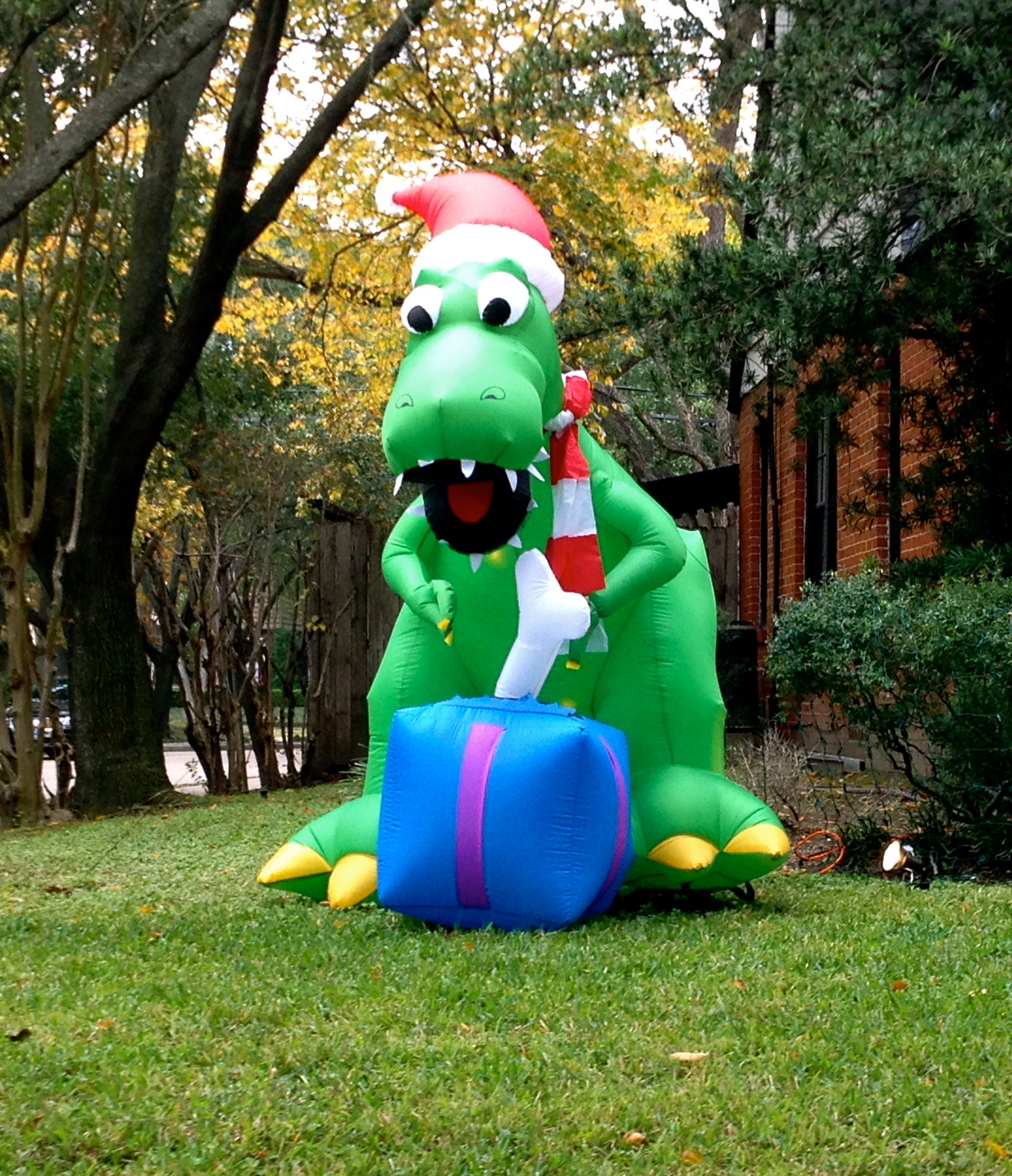 inflatable christmas dinosaur or dragon yard decoration - Dinosaur Christmas Decorations
