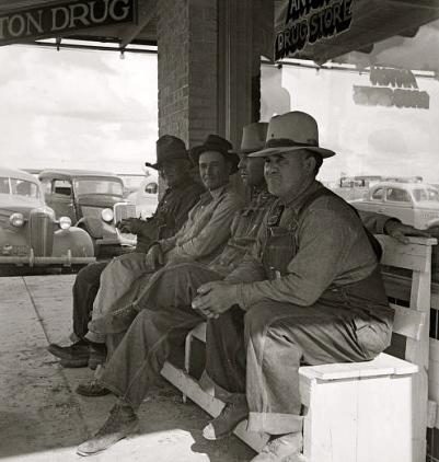 TX men on porch during dust bowl. LOC.gov:fsa.8b38646: