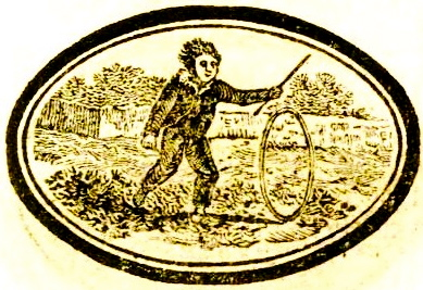 And there's our summer fun: Rolling metal wagon hoops. Not easy in deep sand. Hit your ankle with one of those things and you'll know it. (1820. Gammer Gurton./ Puzzlecap, Bewick/USPD:pub.date/Commons.wikimedia.org)