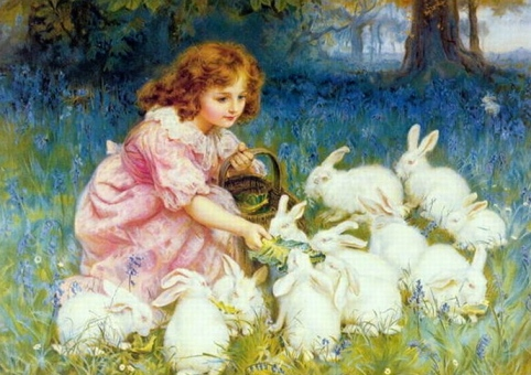 1904.Painting.Feeding the rabbits. Frederick Morgan.1856-1927 (US PD: photo reprod of PD art/expired cr/artist life+70/Commons.wikimedia.org