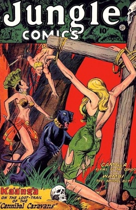 1948.Jungle comic #99 cover by John Celardo/Digital Comic Museum/USPD:pub.date/exp.cr/Commons.wikimedia.org)
