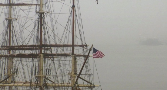 closeup with flag