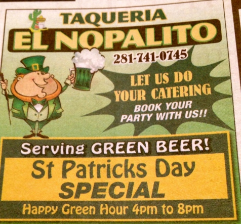 St Patrick's Day at your local Mexican restaurant!