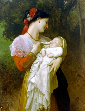 Painting. Mother's love. 1869 Bouguereau, 1825-1905/ US public domain: Photo reprod of PD art/ Artist life+70/Commons.wikimedia.org)