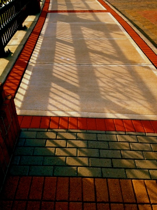 Shadows across brick walk