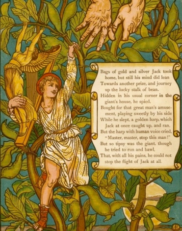 """Jack and Beanstalk.""Walter Crane 1845-1915 /US PD: pub.date/artist life/photo reprod/Commons.wikimedia.org)"