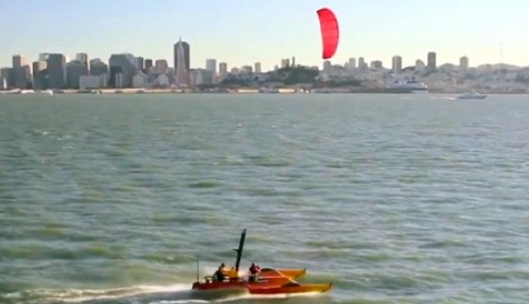 Another kite-flying view. This on San Francisco Bay. (project kiteboat.com)