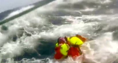 Life jackets are good. Derry-Londonderry-Doire rescue of man overboard.(Screen shot YouTube)