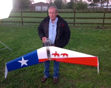 Founder Tim Miller of Texas EquuSearch and one of their drones.